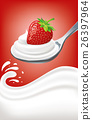 milk yogurt cream with strawberry 26397964