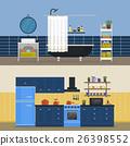 Kitchen interior and bathroom indoor view. 26398552