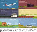 Traveling by airplane and car, train, bus 26398575