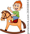 Little boy on a toy horse 26408843