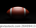 American Football on black background. 26409413