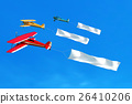 Flying airplane and banner on blue sky.  26410206