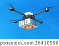 Drone with first aid kit on blue sky. 26410596