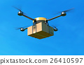 Delivery drone with the cardboard box on blue sky. 26410597