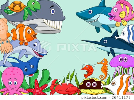 Sea life cartoon background 26411175