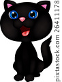 Cute black cat cartoon 26411178