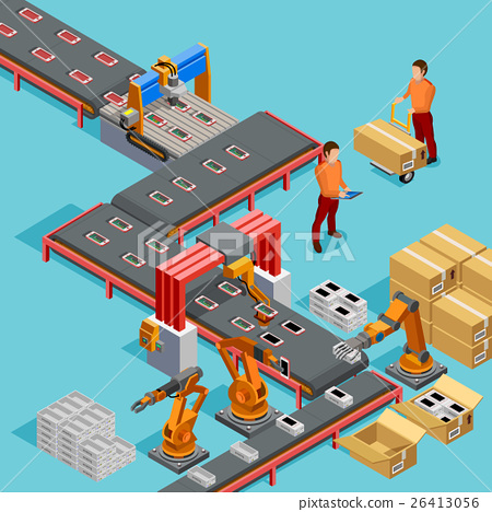 Stock Illustration: Automated Factory Production Line Isometric