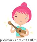 Funny girl playing ukulele. Hawaiian guitar. 26413075