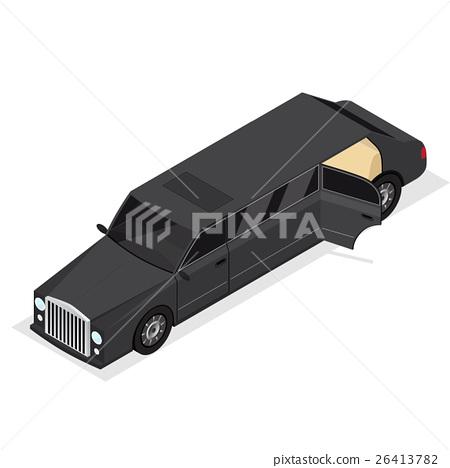 Black Limousine Luxury Vip Car Isometric View 26413782