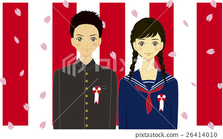 Junior high school students dancing and scattering Cherry blossom petals Red and white illustrations 26414010