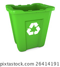 Green plastic recycle bin 26414191
