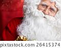 Photo of happy Santa Claus in eyeglasses looking at camera . 26415374