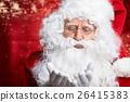 Photo of happy Santa Claus in eyeglasses looking at camera . 26415383