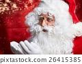 Photo of happy Santa Claus in eyeglasses looking at camera . 26415385