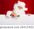 Photo of happy Santa Claus in eyeglasses looking at camera . 26415403
