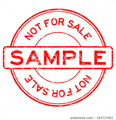 Grunge red round sample not for sale rubber stamp 26415462