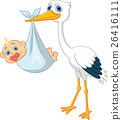 Cute stork carrying baby  26416111