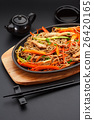 Soba noodles with pork on a black table 26420165