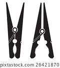 Clothes peg. Black icon clothes pin.   26421870
