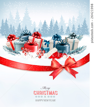 Holiday Christmas background with a gift boxes 26421998