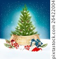 Christmas tree with presents background. Vector. 26422004