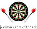 Darts board and darts arrows.  26422370