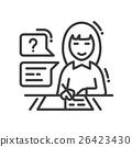 Female studying line design single isolated icon 26423430