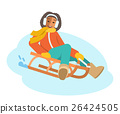 African girl sledding flat vector illustration 26424505