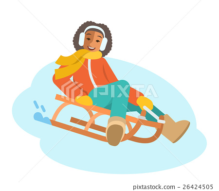 African girl sledding flat vector illustration 26424505