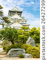 Beautiful Osaka castle in Japan on sunny summer 26427299
