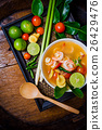 Tom yam kong or Tom yum soup. Thai food. 26429476