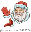 Santa Claus Head and two hands in red mittens 26429768