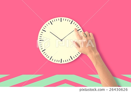 Stock Photo: Clock Time Second Minute Hour Puntual Circle Concept