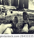 Couple Legs Relaxing Camping Outdoors Concept 26433335