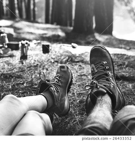 Couple Legs Relaxing Camping Outdoors Concept 26433352