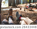 Couple Legs Relaxing Camping Outdoors Concept 26433448