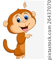 Cute monkey with blank sign 26437070
