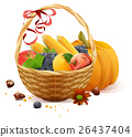 Fruits and vegetables in wicker basket. Rich 26437404