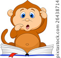 Cute monkey reading book 26438714