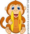 Cute monkey cartoon playing cymbal 26438716