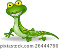 Funny green lizard cartoon 26444790