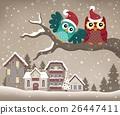 Christmas owls on branch theme image 3 26447411