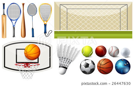 Sport equipments and different goals 26447630