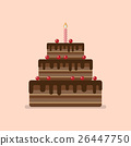 Chocolate cake flat icon 26447750