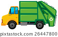 Rubbish truck with green container 26447800