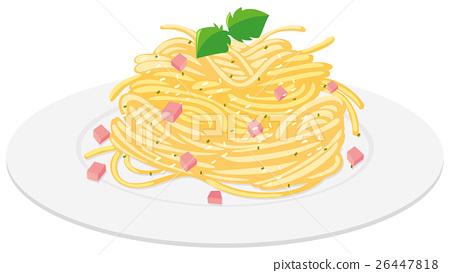 Spaghetti with cream sauce 26447818