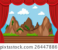 Stage background with mountain and grass 26447886