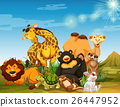 Many wild animals in the field 26447952