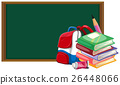 Blackboard and schoolbag with books 26448066