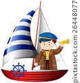 Captain sailing ship at sea 26448077